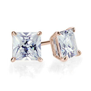 Details about  /1.5 ct Princess Cut Solitaire Studs Green Gem 18k Rose Gold Earrings Screw back