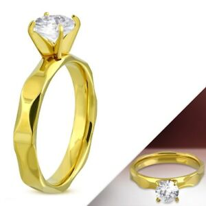 Yellow-Gold-PVD-Solitaire-Engagement-Ring-Hypoallergenic-Surgical-Steel