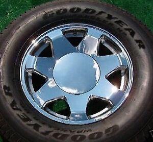 4 Plain SMOOTH Chrome No Logo CENTER CAPS fit OEM Cadillac ...