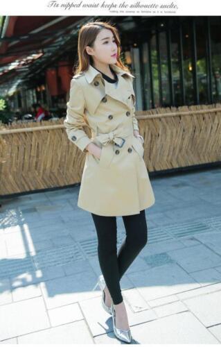 spring women/'s double breasted trench coat belt windbreakers Long Parka Outwear