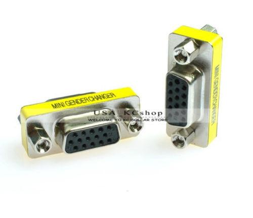 15 Pin HD VGA SVGA Adapter Converter Female to Female  Plug Gender Changer