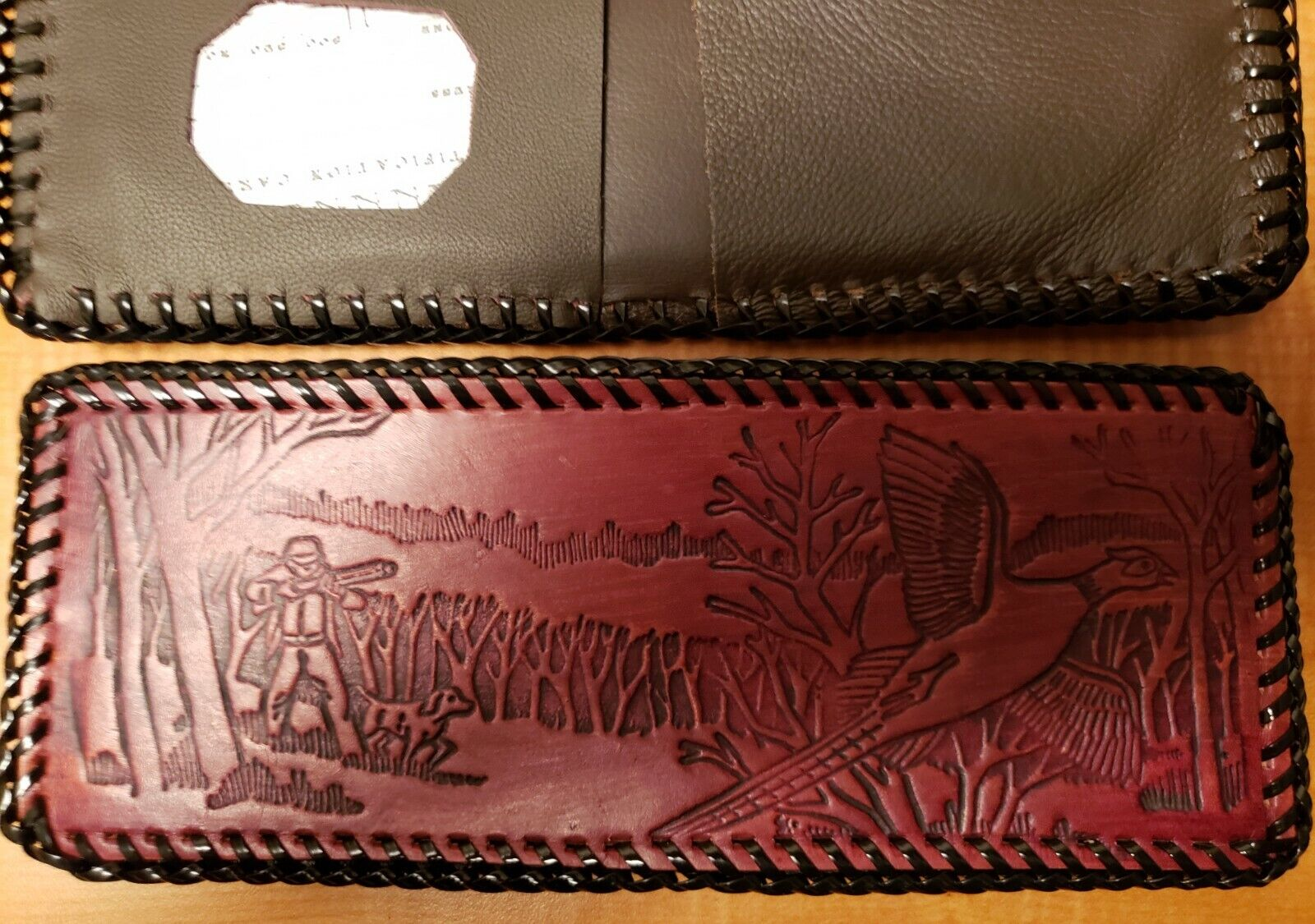 Pheasant Hunter - Beautiful Leather laced wallet made in U.S.A. prison made