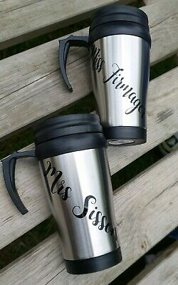 Personalised Travel mug any name Gift Thermal Coffee Tea Flask Cup  Grey Travel