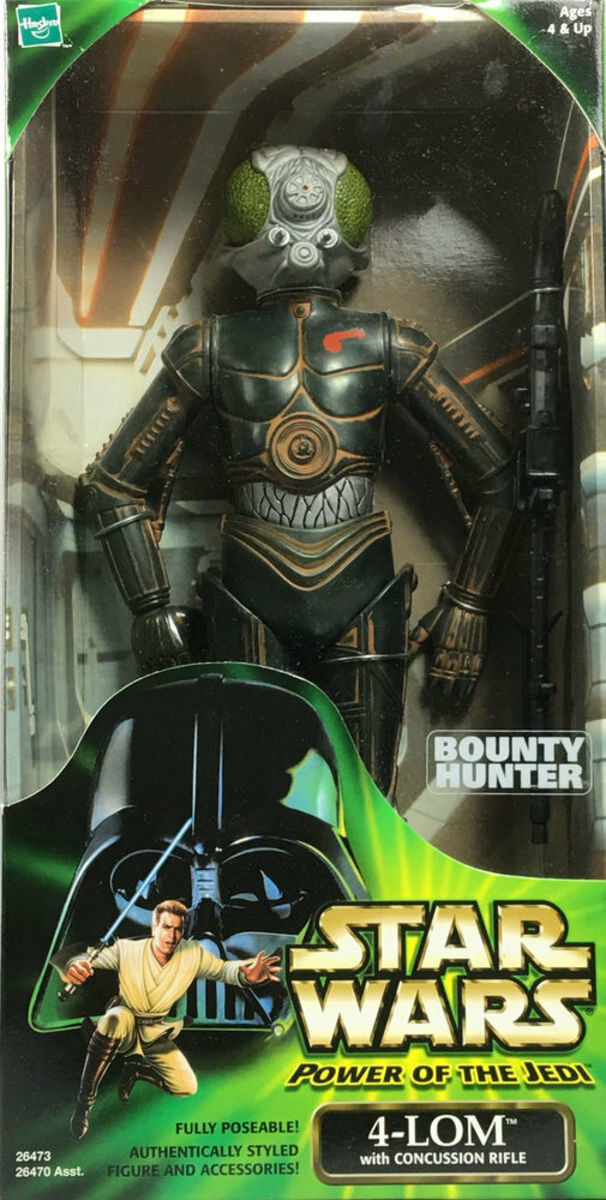 Star Wars Power of The Jedi 4-LOM Bounty Hunter w Concussion Rifle 2000 Hasbro
