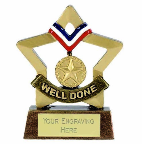 Personalised WELLDONE MEDAL Trophy award mini star *Free Engraving* Home School