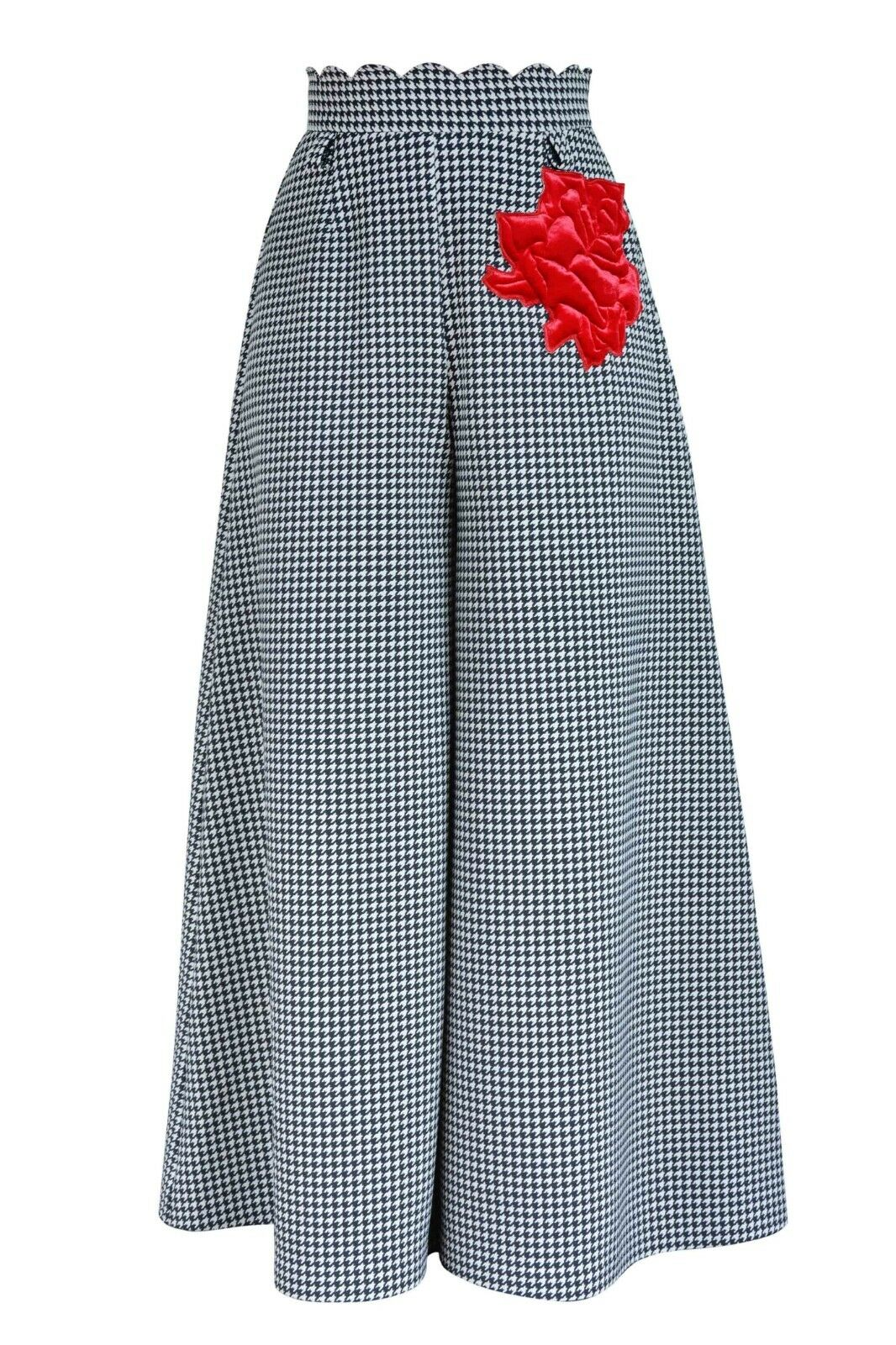 Wide palazzo houndstooth trousers retro 1940s inspired