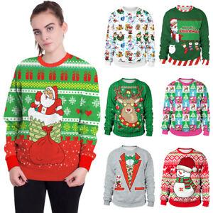Рождественский свитер Рождество Санта лось пуловер женские мужские зимние теплые кофты топы