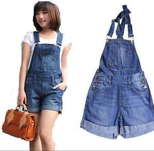 c599fd43d18 Image is loading women-Vintage-90s-Denim-Suspenders-BIB-OVERALLS-Romper-