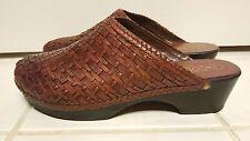 vtg 80s NICOLE cognac brown woven leather wood platform mules JENNA boho clogs 7