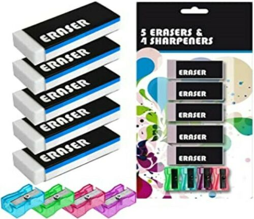 Eraser and Sharpener Kit 4 Coloured Sharpeners and 5 Rubbers School Office