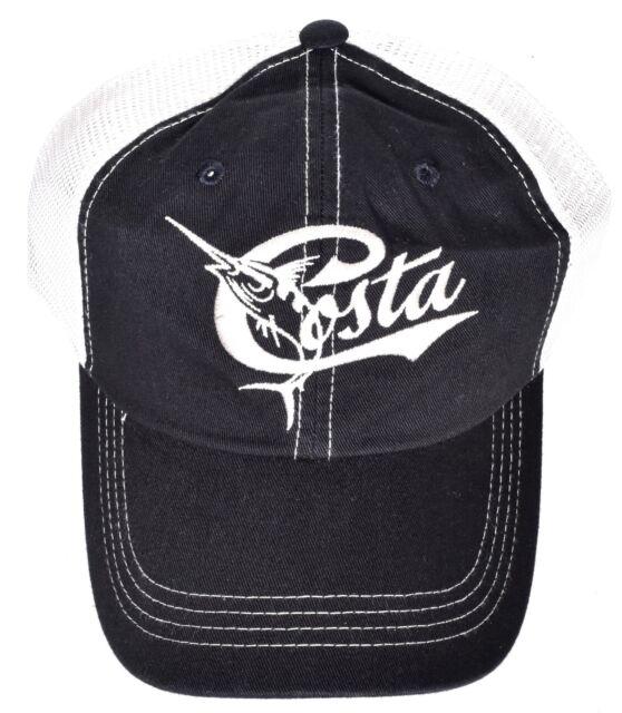 COSTA DEL MAR Retro Trucker Mesh Hat Cap Adjustable Black One Size  NEW  62f066d06473