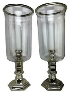 Large Silverplated Hurricane Lamps