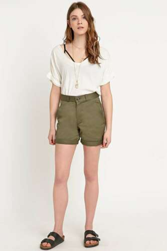 Urban Outfitters Renewal Vintage Re-Made Military Turn-Up Shorts M £35 Khaki