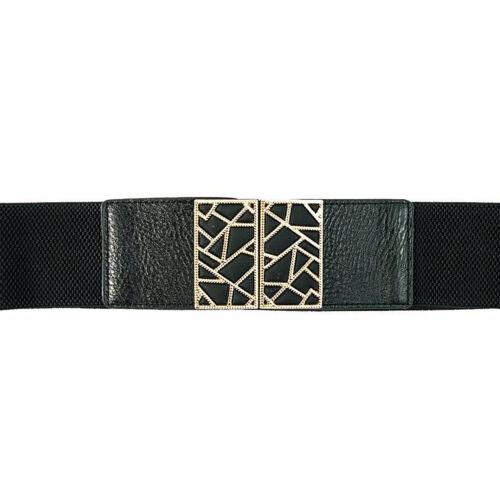 Ladies Adjustable Wide Stretch Gold Buckle Elastic Waistband Corset Waist Belt