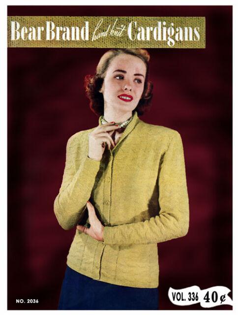 Bear Brand #336 c.1948 - Vintage Hand Knitting Cardigan Patterns for Women