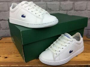 LACOSTE-UK-11-EU-29-CARNABY-EVO-WHITE-BLUE-LEATHER-TRAINERS-CHILDRENS-BOYS-LG