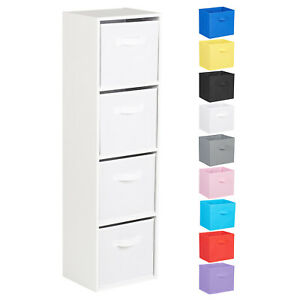 Hartleys-4-Tier-White-Bookcase-Wooden-Display-Shelving-Unit-amp-Fabric-Storage-Box