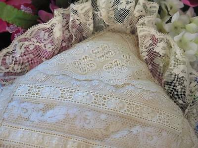 Vintage French Normandy Patchwork Lace Silk Pillow Val Cotton Trim Lovely