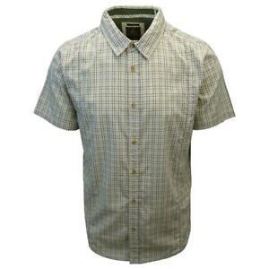 prAna Men's Chartreuse Green Box Plaid S/S Woven Shirt (Slim Fit) S01