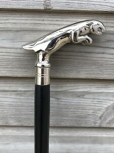 JAGUAR HANDLE WALKING STICK CANE SOLID BRASS HANDLE WOODEN BLACK STICK