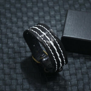 Unisex-Men-Wide-Leather-Wristband-Clasp-Cuff-Punk-Surfer-Bracelet-Bangle-Wraps