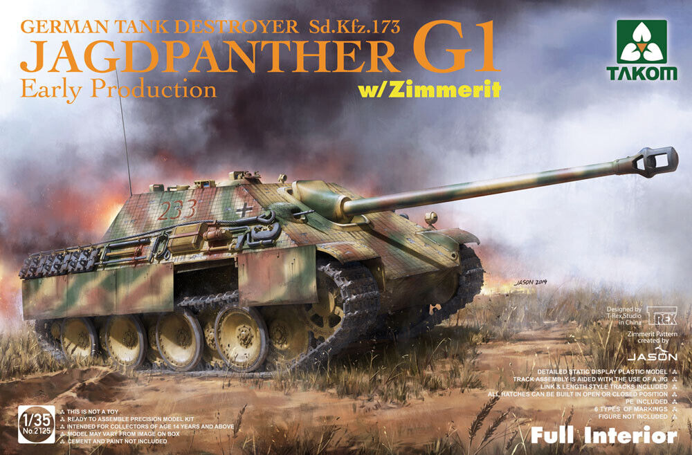Takom 1 35 Jagdpanther G1 Early Production Sd.Kfz.173 with Zimmerit & Full Inter