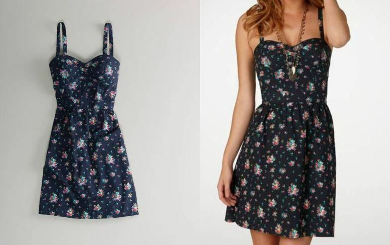 american eagle PRINTED navy bluee pink floral fit and flare CORSET DRESS