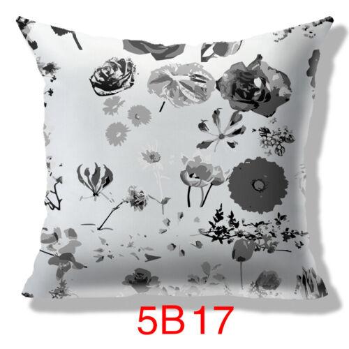 Plantes Fleurs Noir /& Blanc Ton Sur Ton Taille Housse de coussin taie d/'oreiller Home Room Decor
