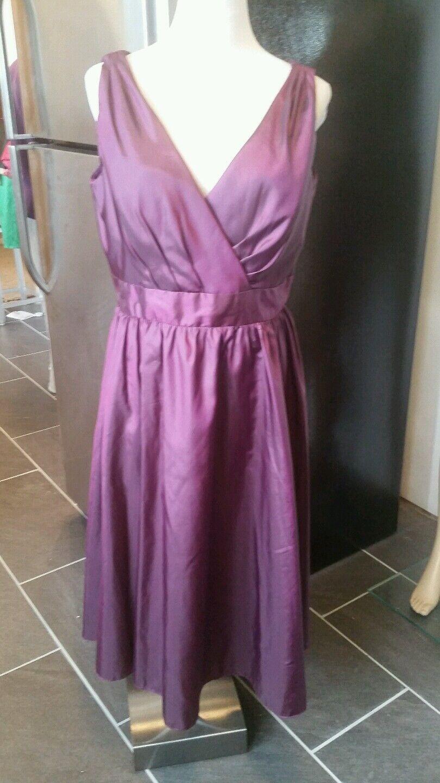 Mori Lee by Madeline Gardner size 16 sleeveless tea length matallic purple 856