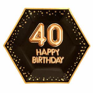 8-x-Black-amp-Gold-Glitz-9-034-Paper-Plates-Ladies-40th-Birthday-Party-Tableware-40