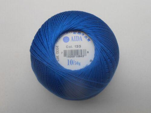 Coats Aida Crochet Hilo De Algodón 50g Talla 10 Color Azul número 133 Lote 0094