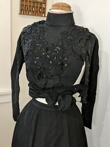 antique vintage 1900s victorian beaded corset top jacket