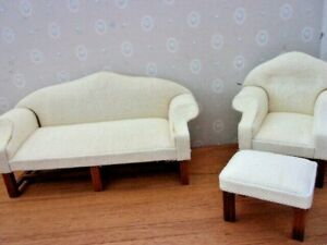 Details about 6 PIECE LIVING ROOM SET - COUCH,LOVE SEAT, CHAIR,OTTOMAN,  TABLES - DOLL HOUSE