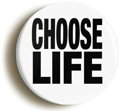 CHOOSE LIFE RETRO EIGHTIES BADGE BUTTON PIN (Size is 1inch/25mm diameter)