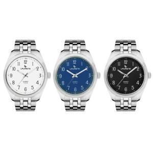 Orologio-Uomo-LAURENS-Bracciale-Acciaio-Nero-Bianco-Blu-40mm