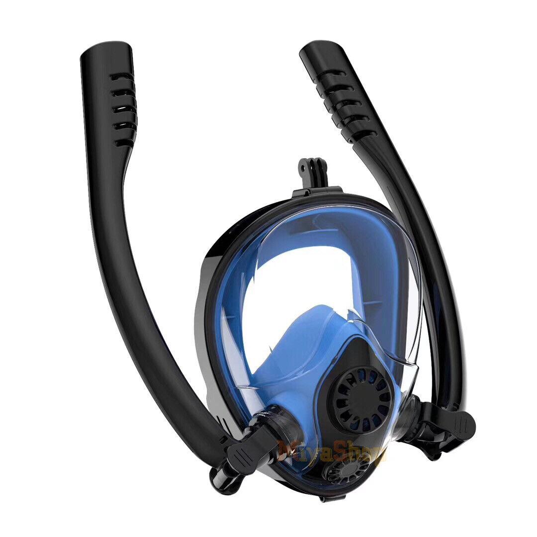 2019 NEW Full Face Snorkel Mask Swimming Water Sports Double Tubes Anti Fog Leak