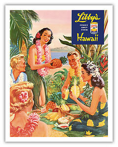 Image Is Loading Hawaii Luau Beach Party Pineapple Aloha Vintage Art