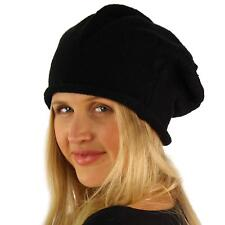 Winter Warm Tight Knit Stretchy French Basque Beret Slouch Beanie Hat Cap Black