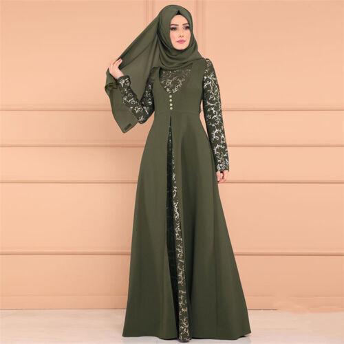 Womens Islamic Muslim Kaftan Abaya Floor Evening Maxi Long Print Elegant Dress