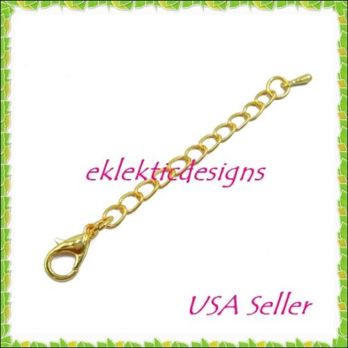 """5pc 4/"""" Gold Plated Lobster Clasp Extender Chain Ends Jewelry Findings Necklace"""