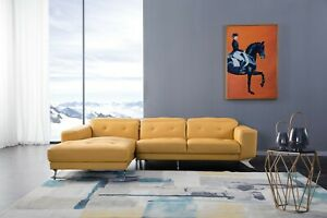 Details about 2PC Modern Yellow Italian Top-Grain Leather Sofa Chaise  Sectional Sofa Set