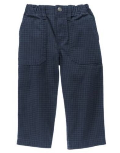 GYMBOREE WOODLAND PARTY BLUE HOUNDSTOOTH CLASSIC WOVEN PANTS 12 18 24 3T 4T NWT