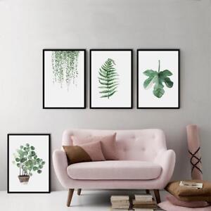 Verde-Plantas-LONA-arte-ilustracion-cartel-Hoja-Lona-Pintura-Pared-Fotos-DC
