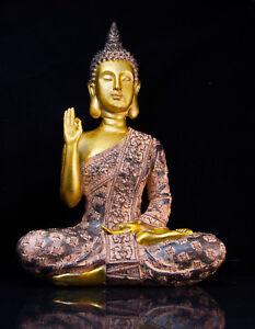 THAI BUDDHA BUDDA personaggio Grande Statua Feng Shui nel seduti ORO NERO circa 28 CM NUOVO