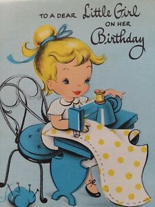 1940-50s-GIRL-Sews-DRESS-on-Old-SEWING-Machine-Vtg-BIRTHDAY-GREETING-CARD