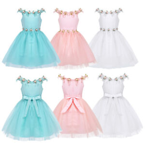 46bbb62f818e Image is loading Kids-Baby-Flower-Girls-Party-Sequins-Dress-Wedding-