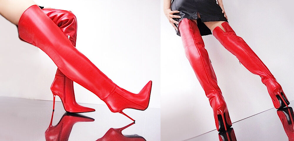 CQ COUTURE CUSTOM POINTY NEU OVERKNEE Stiefel STIEFEL STIEFEL STIEFEL STIEFEL LEATHER ROT 34 c8a5b5