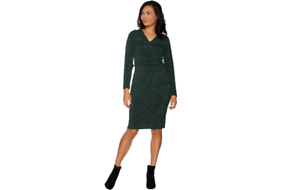 Belle by Kim Gravel Knit Credver Dress Green Leopard S A293592 QVC J