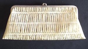 Vintage 50's Plastic Clutch Purse Silver + White Gold Stripes