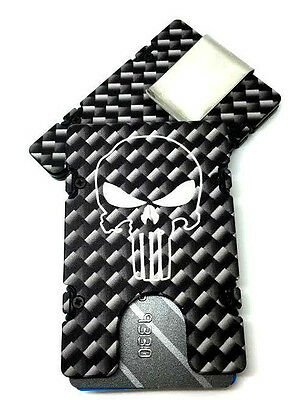 RFID protection Made In USA Black anodized PUNISHER SKULL Credit Card Holder